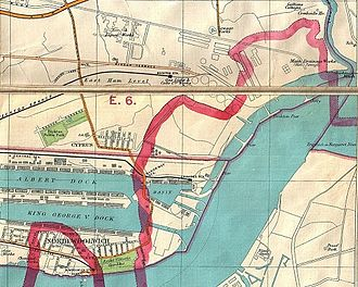 North Woolwich - The formal boundaries of North Woolwich in 1899.