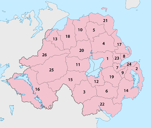 Local Government (Boundaries) Act (Northern Ireland) 1971 - Image: Northern Ireland Local Government Districts