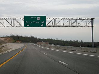 Interstate 49 - Closed ramp which will serve as the northern end of the Bella Vista Bypass upon completion.