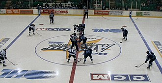 Ontario Hockey League - OHL All-Star Game 2006 Opening Face Off. Game played in Belleville's Yardmen Arena. February 1st, 2006.