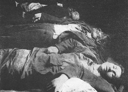 Victims of a clash between striking workers and the army in Prostejov, Austria-Hungary, April 1917 Obeti srazky stavkujicich s vojskem v dubnu 1917.jpg