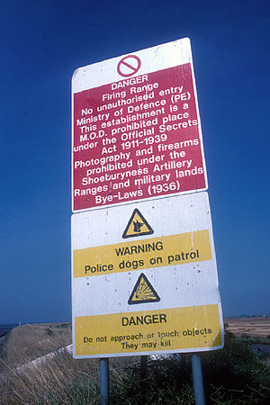 Foulness - Official Secrets Acts 1911 to 1939 warning sign, taken in 1988.