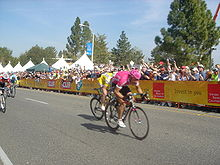 Olaf Pollack taking a stage win in the 2006 Tour of California.jpg