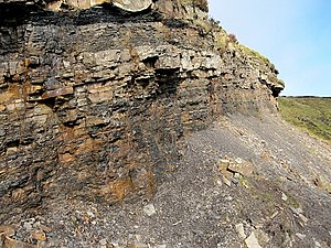 Sliabh an Iarainn - Mining operations; a seam of coal can be seen at the top edge