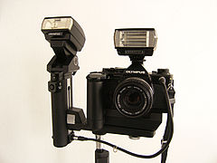 Olympus OM-2 SP + Power Bounce Grip 2 + 2 T20 TTL Flash.jpg