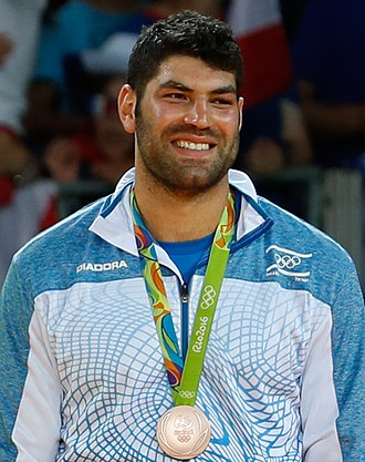 Israel at the 2016 Summer Olympics - Judoka Or Sasson after winning his bronze medal at the 2016 Summer Olympics