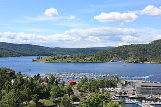 Drøbak Sound - Drøbak Sound with Oscarsborg Fortress, seen from the east side of the Oslofjord