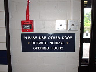 "Scottish English - An example of ""outwith"" on a sign in Scotland"