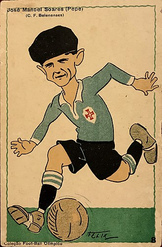 "Pepe Soares - Caricature postcard of CF Belenenses star ""Pépe"" Soares"