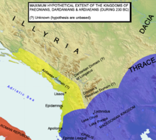 PAEONIAN ARDIAEAN (ILLYRIAN) DARDANIAN KINGDOMS EXTENT DURING 230 BC