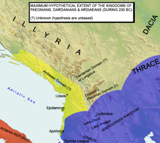 Illyrian Wars - Ardiaean domains under Agron 230 BC
