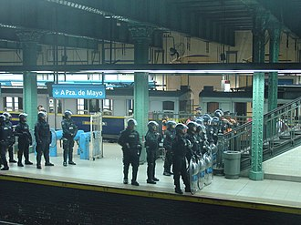 Crime in Argentina - Argentine Federal Police at a train station in the Buenos Aires Underground.