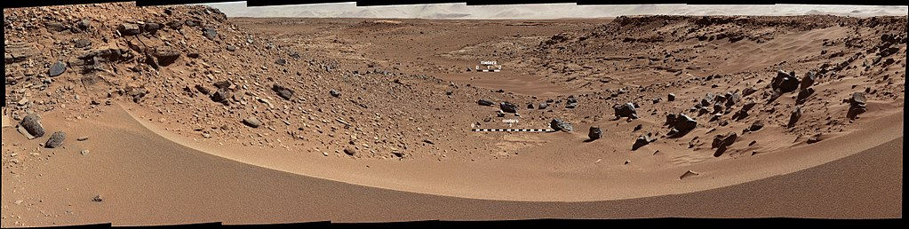 "Panorama of rocks near ""Dingo Gap"" on the way to Mount Sharp viewed by the Curiosity rover (January 30, 2014; raw color)."