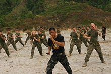 Philippine Marine Corps instructor teaching US Marines Pekiti-Tirsia Kali during military exercises.