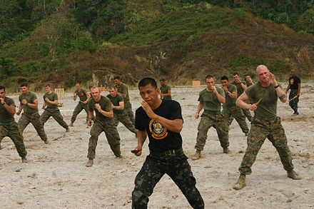 A Philippine Marine Corps instructor teaches US Marines &quotPekiti-Tirsia Kali&quot, a Philippine martial art during military exercises - Armed Forces of the Philippines