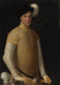 PORTRAIT OF A YOUNG MAN WEARING A PLUMED HAT, A YELLOW DOUBLET WITH SLASHED SLEEVES,.PNG