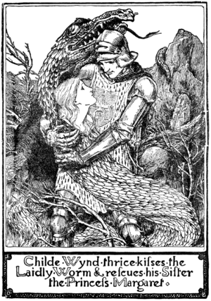 The Laidly Worm of Spindleston Heugh - Childe Wynd thrice kisses the laidly worm, John D. Batten, 1890