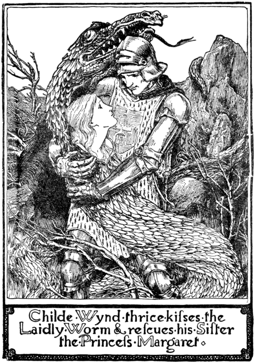An image of Childe Wynde after he has rescued his sister Margaret from her transformation into a dragon.