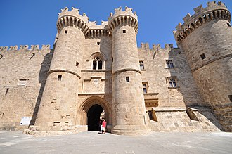 The Palace of the Grand Master of the Knights of Rhodes, originally built in the late 7th century as a Byzantine citadel and beginning from 1309 used by the Knights Hospitaller as an administrative centre Palace of the Grand Master of the Knights of Rhodes (9451928431).jpg