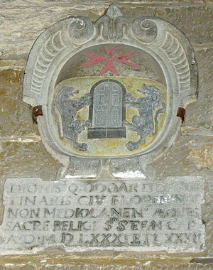 Folco Portinari - The Portinari coat of arms in the Palazzo dei Priori of Volterra.
