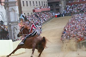 Palio di Siena - Horse and jockey (''fantino'') turning a bend of the race course at Piazza del Campo