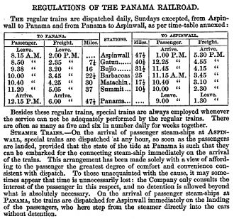 William Henry Aspinwall - Panama Railroad schedule
