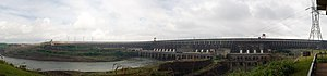 Water resources management in Brazil - Panoramic view of the Itaipu Dam, with the spillways (closed at the time of the photo) on the left