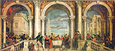 The Feast in the House of Levi (1573), one of the largest canvases of the 16th century. It led to an investigation by the Roman Catholic Inquisition.