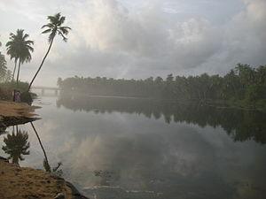 Paravur Lake - Paravur Lake near Thekkumbhagam estuary