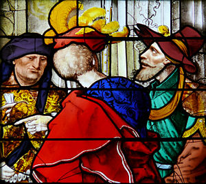 "St-Gervais-et-St-Protais - Detail of stained glass by Jean Chastellain, ""The Wisdom of Solomon"" (1533)"
