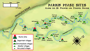 Parkin Archeological State Park - The distribution of Parkin Phase sites along the St. Francis and Tyronza Rivers.