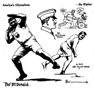 "Robert Ripley - Early cartoon by Ripley, pre-""Believe It or Not,"" published in 1920. Pat McDonald, American Olympian."