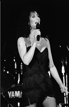 Cher performing during a benefit concert for Elizabeth Glaser Pediatric AIDS Foundation in 1989 Pediatric AIDS Foundation - Washington, D.C. - seen on Wednesday, June 21, 1989.jpg