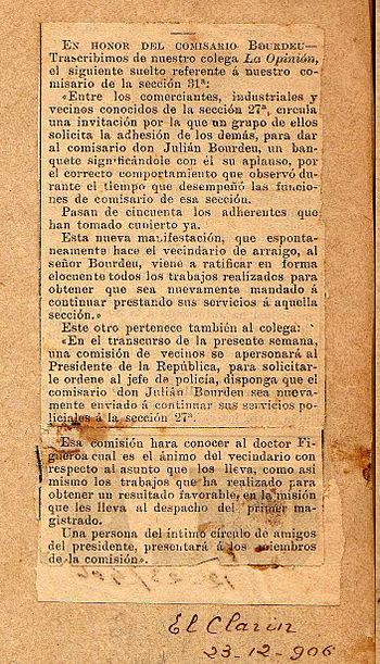 Pedido por Bourdeu al Pte. Figueroa Alcorta-El Clar%C3%ADn-23-12-1906