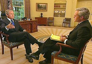Scott Pelley - Scott Pelley with President George W. Bush in the Oval Office.