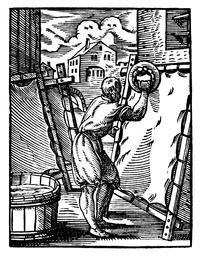 Παρασκευή περγαμηνής, υπό Jost Amman & Hans Sachs, Φρανκφούρτη 1568.