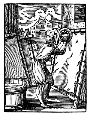 History of hide materials - A German parchmenter during the 16th century.