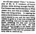 Peter, who works for Charles Frederick Lindauer I (1836-1921) in Rye, New York injured, as reported in the Port Chester Journal on April 28, 1892.png