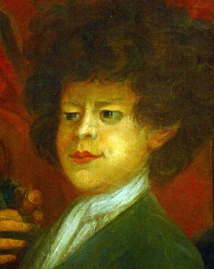 Peter the Wild Boy - Peter in a detail of a painting by William Kent at Kensington Palace
