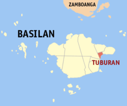 Map of Basilan with Tuburan highlighted