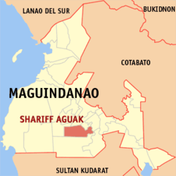 Map of Maguindanao showing the location of Shariff Aguak