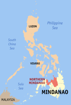 Map of the Philippines showing the location of Region X
