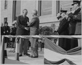 Photograph of President Truman shaking hands with General George C. Marshall as he presents him with an Oak Leaf... - NARA - 199268.tif