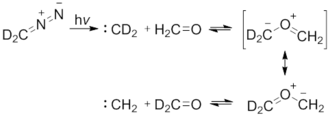1,3-Dipolar cycloaddition - Scheme 2. Photolysis of Dideuteriodiazomethane with formaldehyde. Modified from Prakash, G. K. S.; Ellis, R. W.; Felberg, J. D.; Olah, G. A. J Am Chem Soc 1986, 108, 1341.