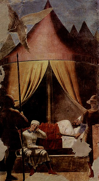 The History of the True Cross - The Dream of Constantine, one of the earliest nocturnal scenes in Western art (pre-restoration image).