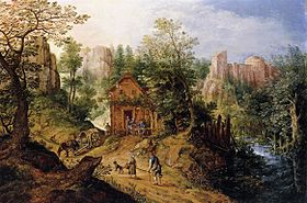 Pieter Stevens II - Mountain Valley with Inn and Castle - WGA21791.jpg
