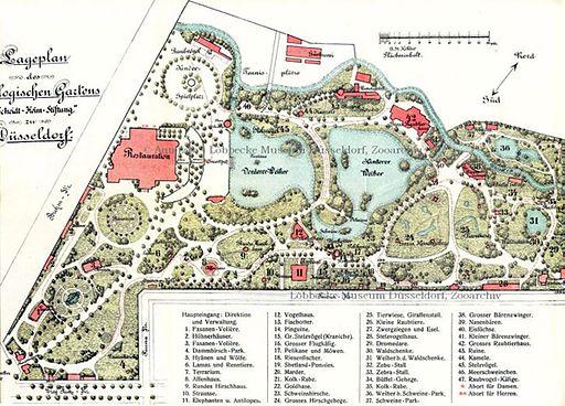 Plan des Zoologischen Gartens Düsseldorf um 1908 - Quelle: Wikipedia