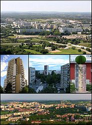 Top: Planoise from Rosemont Hill.  Centre: the tower of Planoise; Époisses sector; the Diversity statue.  Bottom: View from the hill of Planoise.