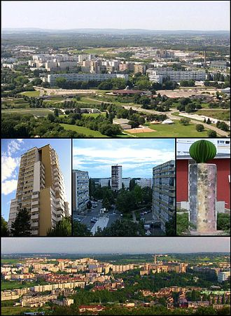 Planoise - Top: Planoise from Rosemont Hill.   Centre: the tower of Planoise; Époisses sector; the Diversity statue.   Bottom: View from the hill of Planoise.