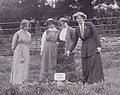 Planting suffragette trees at Eagle House Suffragettes Annie Kenney, Mary Blathwayt, Laura Ainsworth and Charlotte Marsh (left to right).jpg